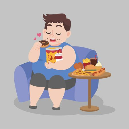 Big Fat Happy Man enjoy eat donut snack sitting on sofa, diet lose weight Healthcare concept