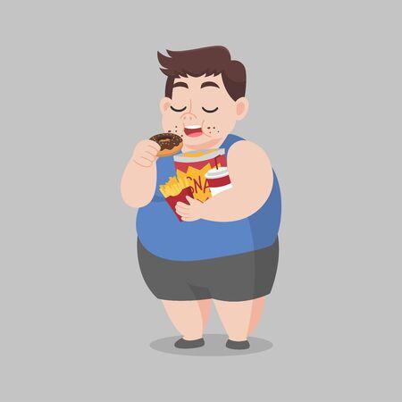 Big Fat Happy Man enjoy eat donut snack, diet lose weight Healthcare concept