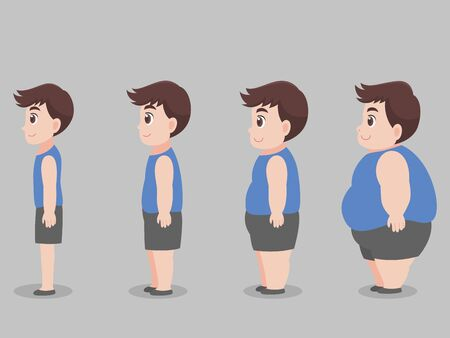 Set of Cute character Big Fat Man for lose weight grow thin diet Healthcare concept.
