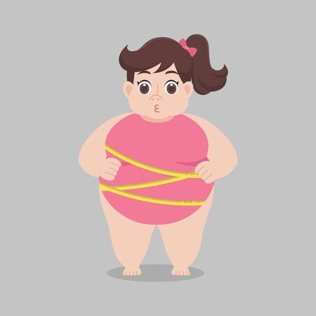 Big Fat woman worry wearing pink bikini Tape measure, Healthcare concept cartoon Healthy character flat vector design.