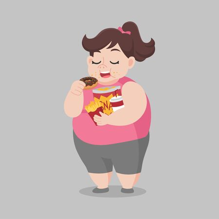 Big Fat Happy woman enjoy eat donut snack, diet lose weight Healthcare concept