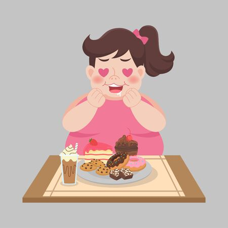 Big Fat Happy woman enjoy eat sweet dessert, diet lose weight, Healthcare concept Illusztráció