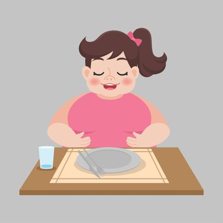 Fat full woman with empty dirty plate after eaten weight loss Healthcare concept cartoon.