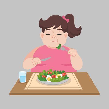 Unglückliche fette Frau möchte keinen Salat, Gemüse Gewichtsverlust essen Gesundheitskonzept Cartoon. Vektorgrafik