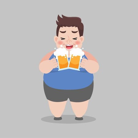 Big Fat Mn love drinking a mug of beer, Healthcare concept, Vector illustration in a flat style.