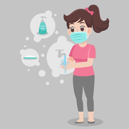 Woman wearing a surgical protective Medical mask for prevent virus Covid-19.Corona virus, washing hand with soap, Liquid soap. Health careconcept. Illustration
