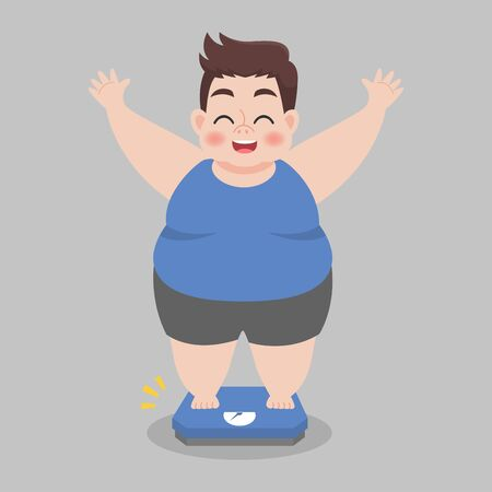 Big Fat Man happy standing on electronic scales for weight Body weight, celebrating and cheering a weight loss goal achievement, Healthcare concept flat vector design.
