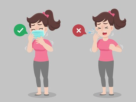 Woman cough wearing mask and without mask. color speech bubble like do and don't. Healthy way to safe from virus infections. Health care concept.