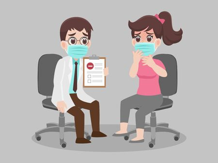 Doctor holding laboratory results of a patient that negative for COVID 19 or corona virus. wear face mask surgical protective Medical mask for prevent virus. Health care concept. 向量圖像