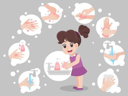 Children washing hands  for prevent virus   Covid-19.Corona virus,Hand washing step, rinse dry hands icons, Health care concept. Stock Vector - 143269823