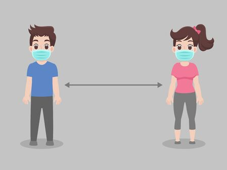 Social Distancing, People keeping distance for infection risk and disease ,wearing a surgical protective Medical mask for prevent virus Covid-19.Corona virus. Health care concept.