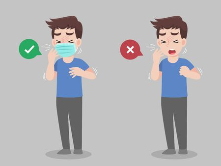 Man cough wearing mask and without mask. color speech bubble like do and don't. Healthy way to safe from virus infections. Health care concept.