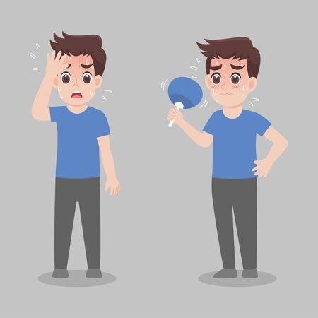 Man have heatstroke in summer concept, sick, fever, hot weather, cartoon character vector in flat design Medical Health care Life.