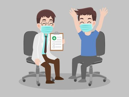 Doctor holding laboratory results of a patient that positive for COVID 19 or corona virus. wear face mask surgical protective Medical mask for prevent virus. Health care concept.