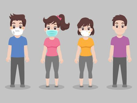 Set of people  wearing face mask with different types of face mask for prevent virus   Covid-19. Corona virus.Health care concept.