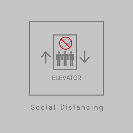 Do not talking in elevator Prevent the spread of Covid-19 by dividing the standing position in the transport lift. Protect yourself by social distance. Self isolation symbol for pandemic virus.