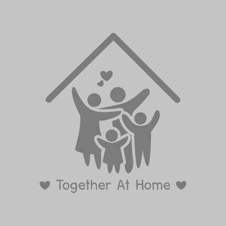 Together at Home campaign, Stay home stay safe. Social Distancing, People keeping distance for decrease infection risk and disease virus, Self isolation symbol for pandemic virus Covid-19 Corona virus