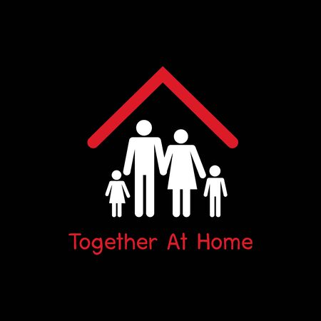 Together at Home campaign, Stay home stay safe. Social Distancing, People keeping distance for decrease infection risk and disease virus, Self isolation symbol for pandemic virus Covid-19 Corona virus Ilustración de vector