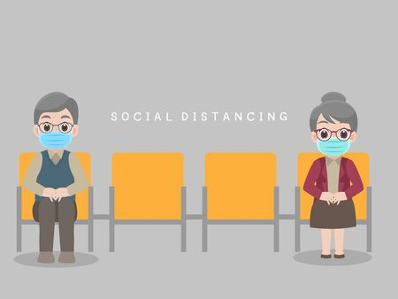 Social Distancing, People sit on chair keeping distance for infection risk and disease, Grandparents wearing a surgical protective Medical mask for prevent virus Covid-19.Corona virus. Health care concept.