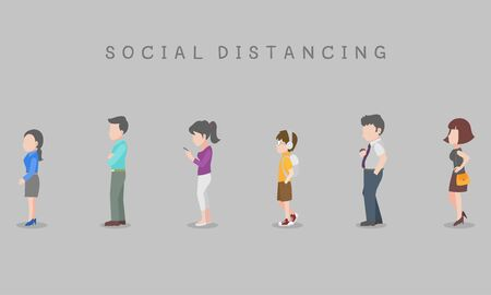 Social Distancing, People in queue keeping distance for infection risk and disease infection risk and disease for prevent virus Covid-19.Corona virus. Health care concept.