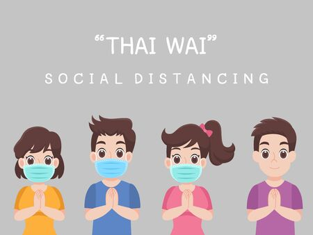 Thai Wai, Social Distancing, People keeping distance for infection risk and disease ,wearing a surgical protective Medical mask for prevent virus Covid-19. Health care concept. 向量圖像
