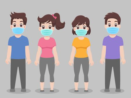 Set of people wearing protective Medical mask for prevent virus   Covid-19.Corona virus, character pose front side cartoon. Healthcare concept.