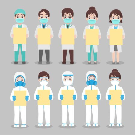 Set of Doctor and nurse in personal protective suit wear a surgical protective Medical mask for prevent virus said We stay at work for you. You stay at home for us. Social distance. Protect yourself.