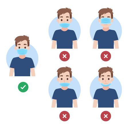 Comment porter un masque facial bien et mal, les personnes portant un masque chirurgical pour prévenir le virus corona, concept de soins de santé.