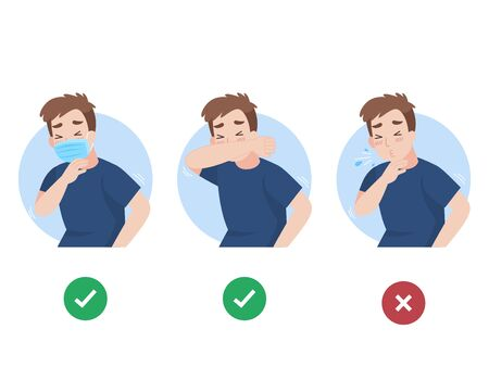Man use elbow cover mouth before sneeze and don't do. color speech bubble like do and don't. people wearing a surgical mask for prevent corona virus, Health care concept.