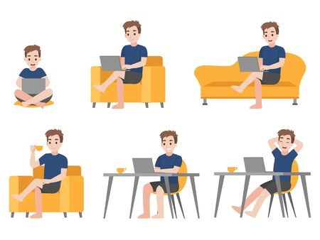 Working from home, Stay home stay safe. Social Distancing, People keeping distance for decrease infection risk and disease for prevent Corona virus. Health care concept.