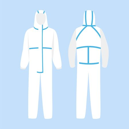 Personal protective suit PPE Clothing isolated and Safety Equipment for prevent Corona virus, Front and back.Work safety