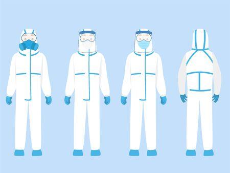 Ensemble de personnes Personnage portant une combinaison de protection individuelle EPI Vêtements isolés et équipement de sécurité pour prévenir le virus Corona, médecin portant un équipement de protection individuelle. Sécurité au travail