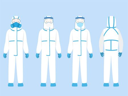 Set of people Character wearing in PPE personal protective suit Clothing isolated and Safety Equipment for prevent Corona virus, doctor wearing Personal Protective Equipment.Work safety