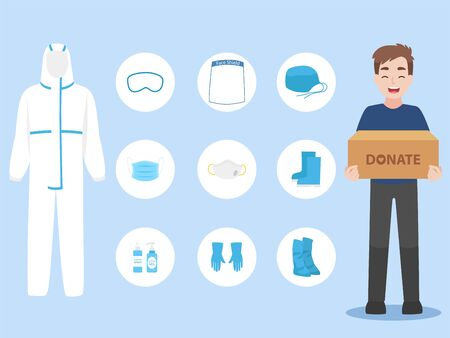 People donate PPE personal protective suit Clothing isolated and Safety Equipment for prevent Corona virus, man hold donate box for give and support doctor work safety Vetores