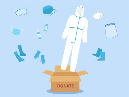 People donate PPE personal protective suit Clothing isolated and Safety Equipment for prevent Corona virus, man hold donate box for give and support doctor work safety