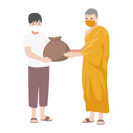 Monk help people by offering Survival bag to poor people and wearing a surgical protective Medical mask for prevent Corona virus. Health care concept.