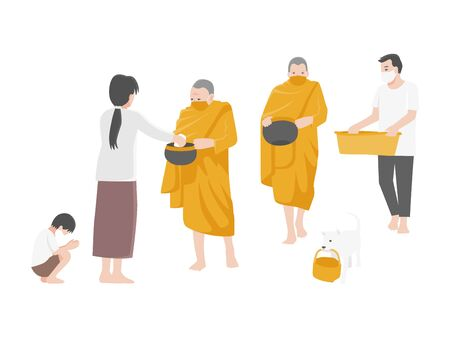 Give alms, People Make merit by offering food to monks and wearing a surgical protective Medical mask for prevent Corona virus. Health care concept.