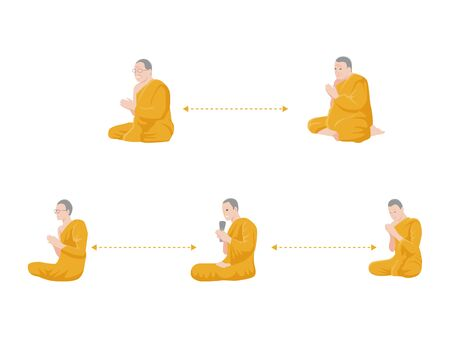 Social Distancing, Monk Pray and keep distance for infection risk and disease, for prevent virus Covid-19.Corona virus. Health care concept.