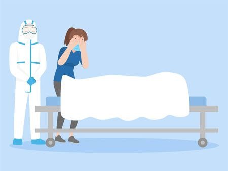 Doctor with woman weeping over a dead body covered in white sheet on wheeled bed, Healthcare concept.