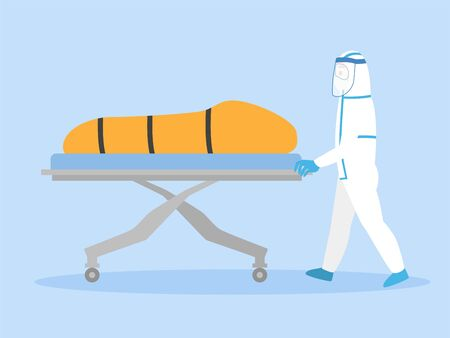 Medical Staff in personal protective suit move a dead body inside bag quarantine of infected patients coronavirus to the morgue. Healthcare Concept. Ilustración de vector
