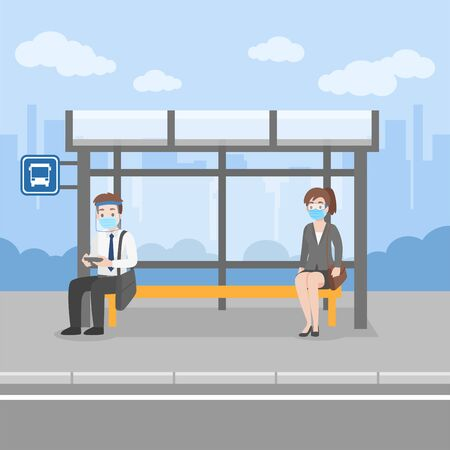 New normal life People waiting bus transport at bus stop wearing a surgical protective Medical mask and face shield for prevent coronavirus walking For Work, Health care concept.