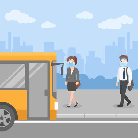 New normal life People getting on the bus transport at bus stop wearing a surgical protective Medical mask and face shield for prevent coronavirus walking For Work, Social Distancing concept. Иллюстрация