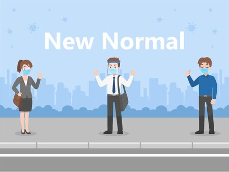 New normal life People in business casual outfits social distance wearing a surgical protective Medical mask and face shield for prevent coronavirus walking For Work, Health care concept.