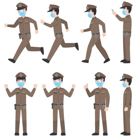 Set of Thai police in brown uniform with New normal life wearing a surgical protective Medical mask and goggles for prevent coronavirus. character pose front side turn around cartoon, Health care. Vectores