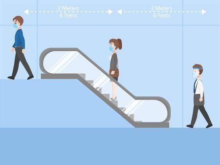 People business casual outfits in New normal life wearing a surgical protective Medical mask, goggles and face shield for prevent coronavirus riding an escalator keep Social distancing Health care. Ilustración de vector