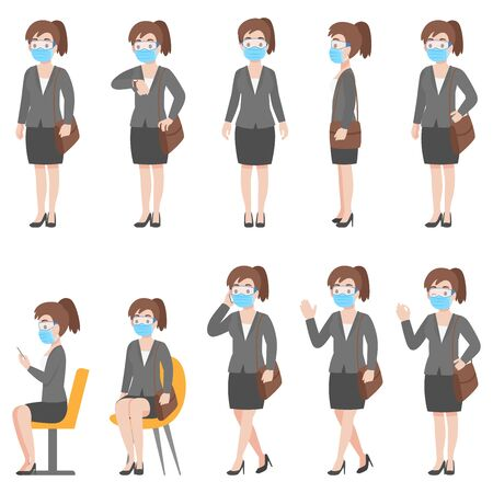 Set of woman in business casual outfits in New normal life wearing a surgical protective Medical mask and goggles for prevent coronavirus. character pose front side cartoon, Health care. Vettoriali