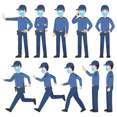 Set of security guard in uniform with New normal life wearing a surgical protective Medical mask and goggles for prevent coronavirus. character pose front side turn around cartoon, Health care. Illustration