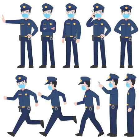 Set of police in uniform with New normal life wearing a surgical protective Medical mask and goggles for prevent coronavirus. character pose front side turn around cartoon, Health care. Vettoriali