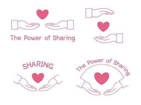 Give hand helping the power of Sharing Design, Two hands helping another. People helping each other. Vettoriali
