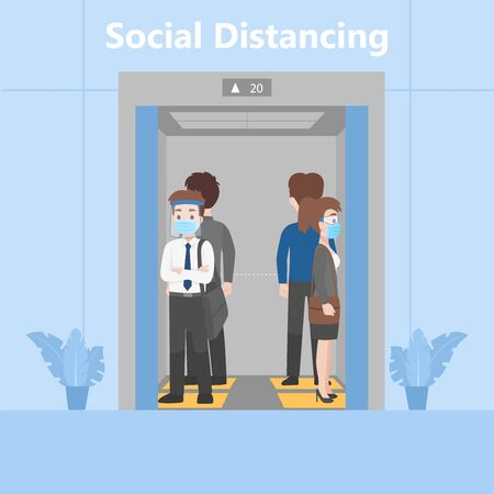 Neues normales Leben Menschen in Business-Outfits sozial distanzieren, die eine chirurgische Schutzmaske und einen Gesichtsschutz tragen, um zu verhindern, dass das Coronavirus im Aufzug auf dem Fußabdruckschild für den Stand im Aufzug steht Vektorgrafik
